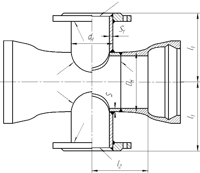 Крест фланец-раструб
