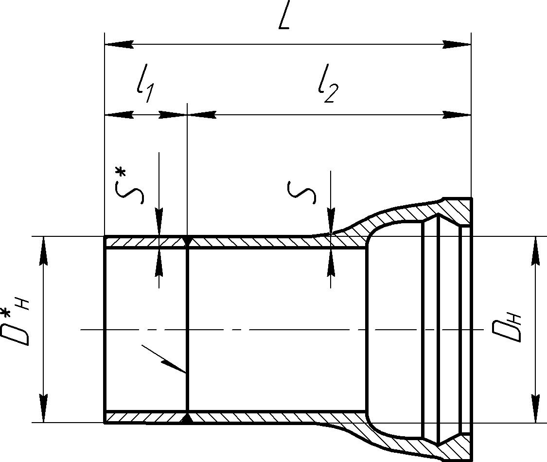 Патрубок раструб-гладкий конец чугун-сталь