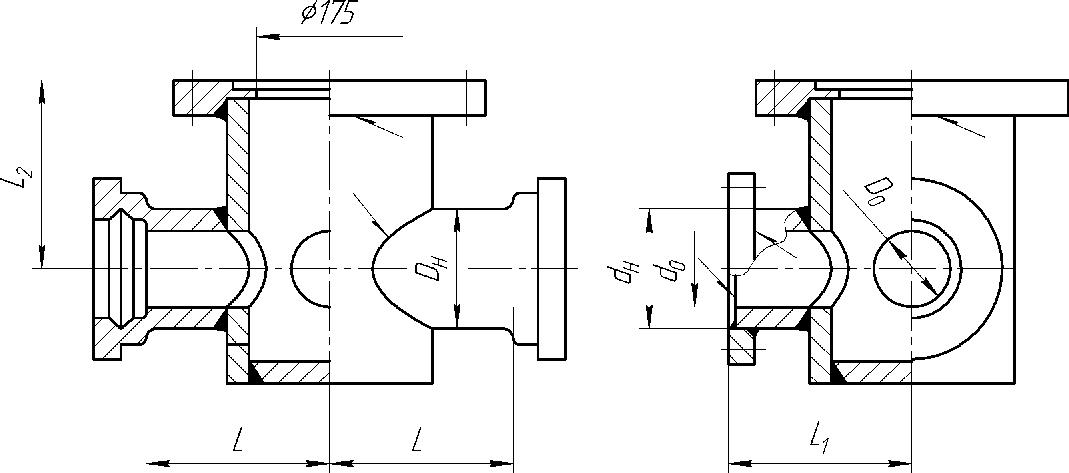 Тройник раструб-фланец с пожарной подставкой Ду до 150мм