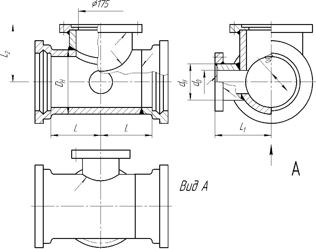 Тройник раструб-фланец с пожарной подставкой Ду свыше 150мм