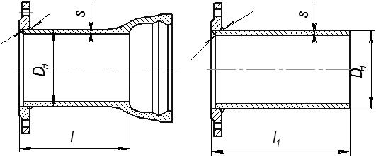 Патрубки: фланец-раструб и фланец - гладкий конец